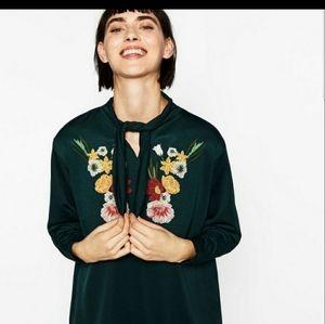 Zara tunic dark green floral embroidered tie neck